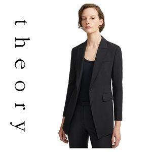 Theory Two Button Pocket Black Long Blazer 4